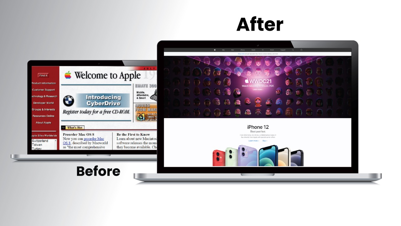 Before and after images of the Apple website.